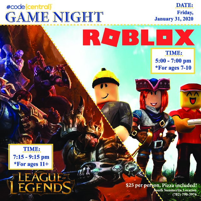 Roblox Game Night - League Of Legends Roblox Game Night Ages 7 11 Summerlin Codecentral